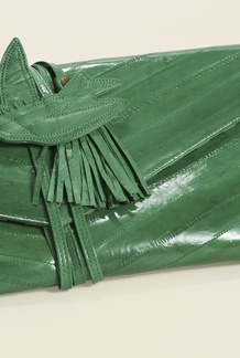 Chevron Eel Skin Clutch Evergreen