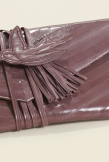 Chevron Eel Skin Clutch Plum