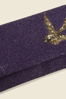 Beaded Bird Clutch Plum