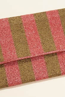 Stripe Beaded Clutch